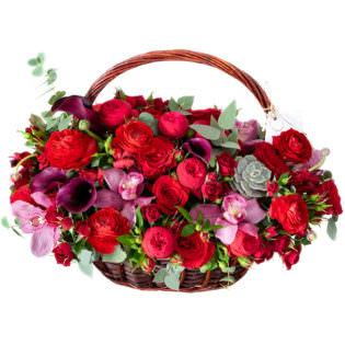 Цветы в корзинке «Алые паруса»